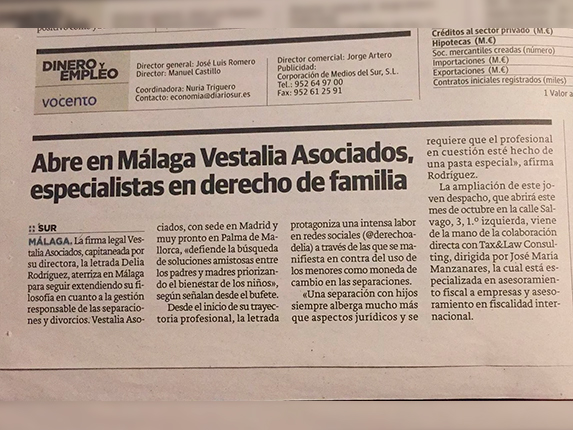 Vestalia Asociados abre oficinas en Málaga.