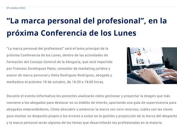 Conferencia CGAE Delia Vestalia 2020